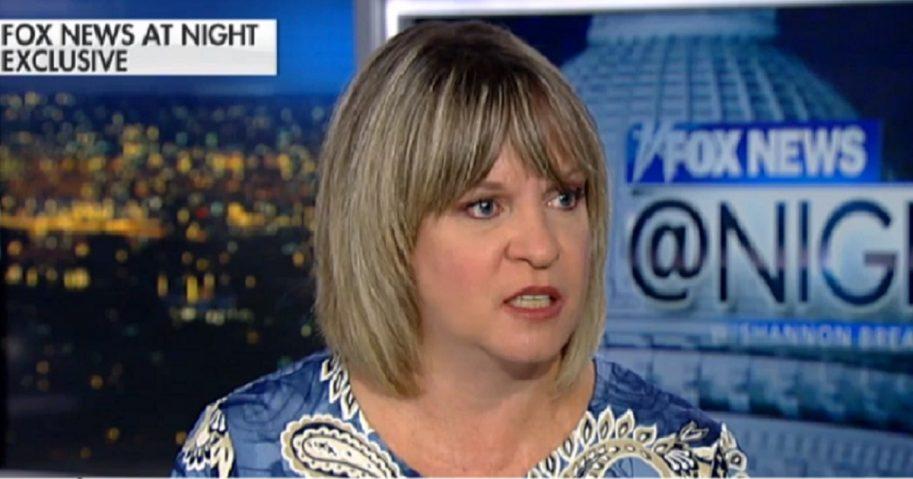 Woman speaking on Fox News set