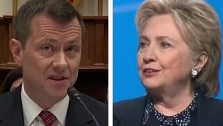 Peter Strzok, left, and Hillary Clinton, right.