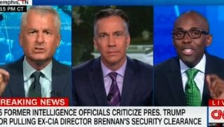 Phil Mudd, far left, show host Jim Sciutto middle, and Paris Dennard, far right.