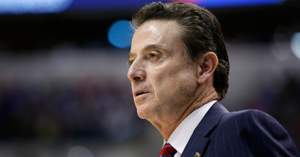 Head coach Rick Pitino of the Louisville Cardinals reacts in the first half against the Michigan Wolverines during the second round of the 2017 NCAA Men's Basketball Tournament at the Bankers Life Fieldhouse on March 19, 2017 in Indianapolis.