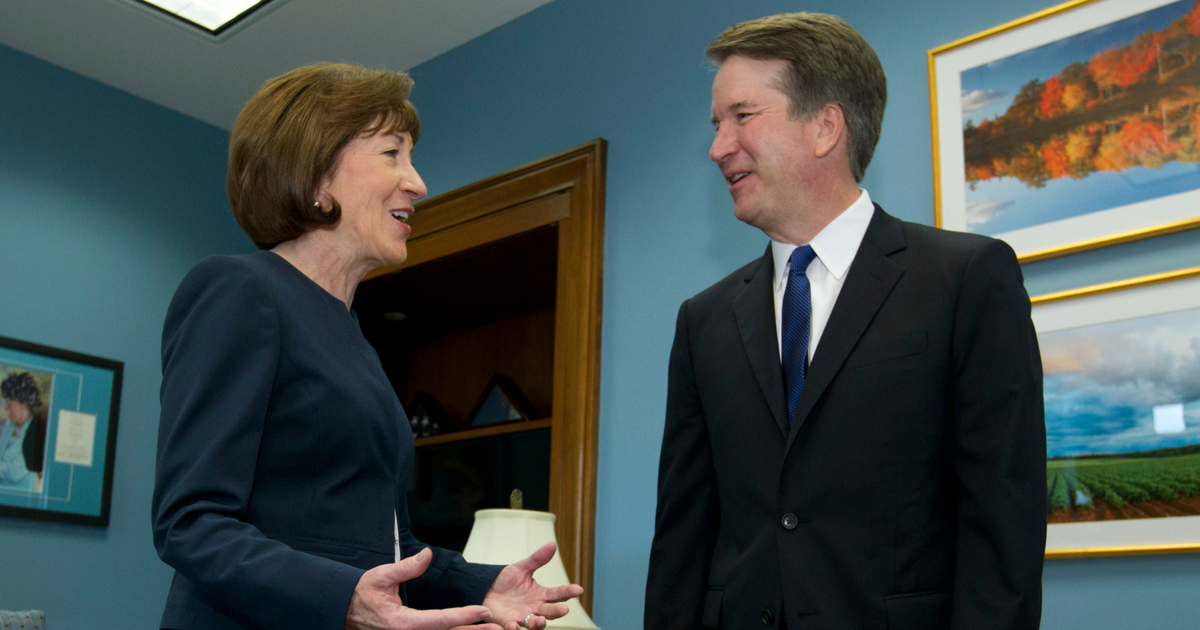 Sen. Susan Collins of Maine speaks with Supreme Court nominee Judge Brett Kavanaugh at her office, before a private meeting on Capitol Hill in Washington on Tuesday, Aug. 21, 2018.