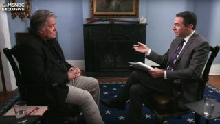 MSNBC's Ari Melber, right, interviews former White House strategist Steve Bannon.