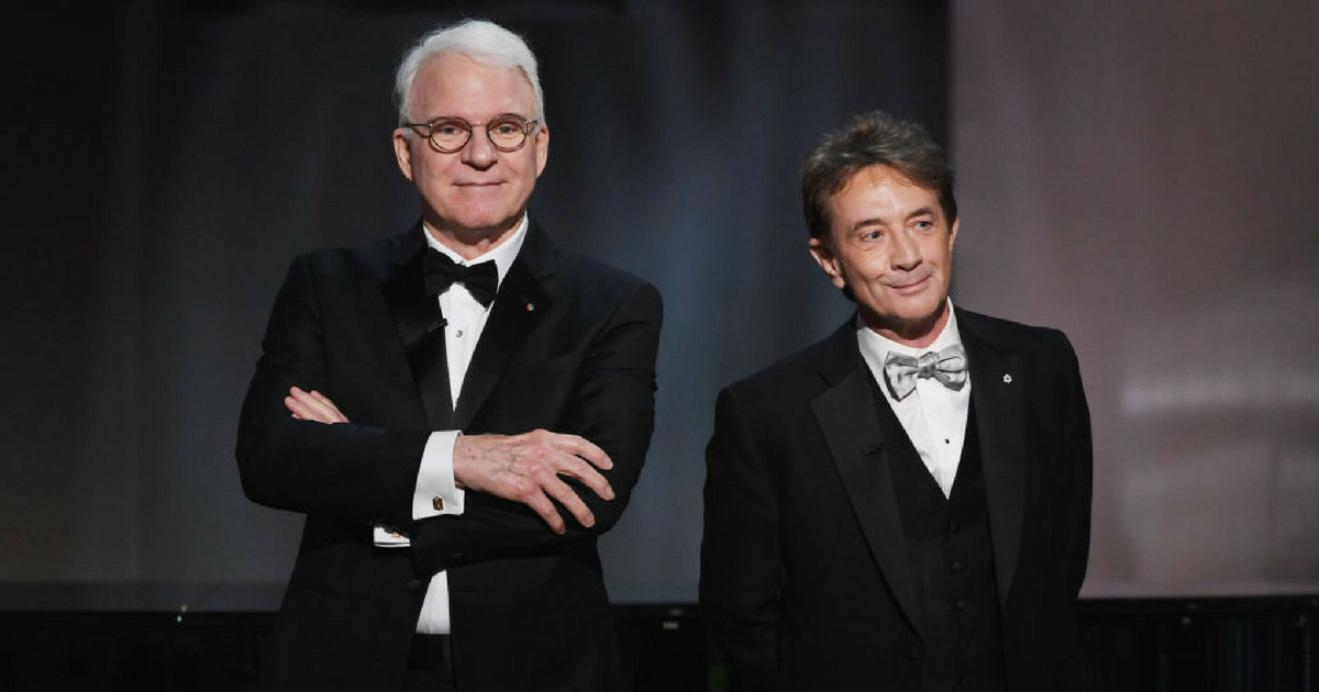 Actors Steve Martin (L) and Martin Short speak onstage during American Film Institute's 45th Life Achievement Award Gala Tribute to Diane Keaton at Dolby Theatre on June 8, 2017 in Hollywood, California.
