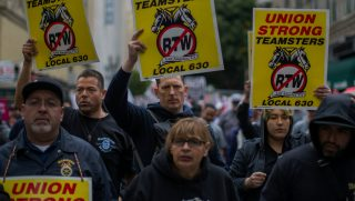 Teamsters march on May Day, on May 1, 2018 in Los Angeles.