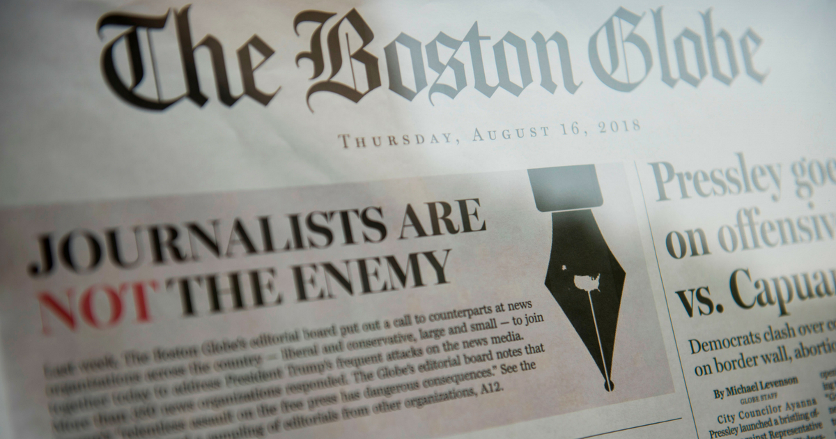 The front page of the Boston Globe August 16, 2018 edition is on display outside the Newseum in Washington D.C. on August 16, 2018.