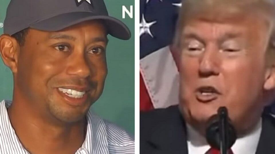 Tiger woods, left, and Donald Trump