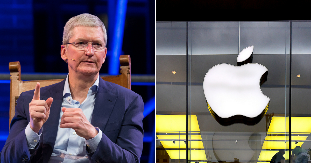 Apple CEO Tim Cook next to the Apple logo