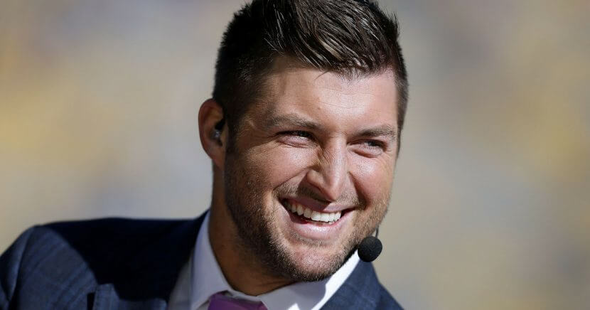 Tim Tebow is seen in a suit and tie before a game between the LSU Tigers and the Florida Gators at Tiger Stadium on November 19, 2016 in Baton Rouge, Louisiana.