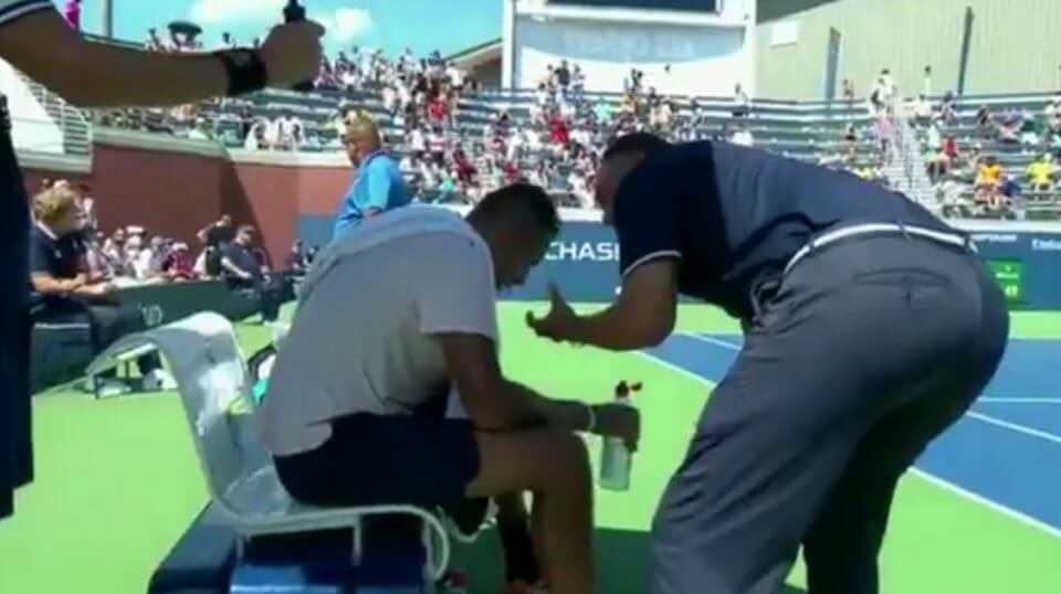 Chair umpire Mohamed Lahyani gives a pep talk to tennis star Nick Kyrgios on Thursday at the U.S. Open.