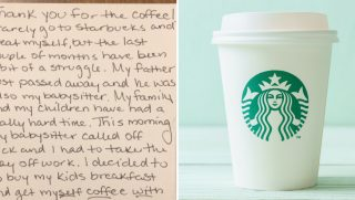 Note from stranger and a starbucks cup