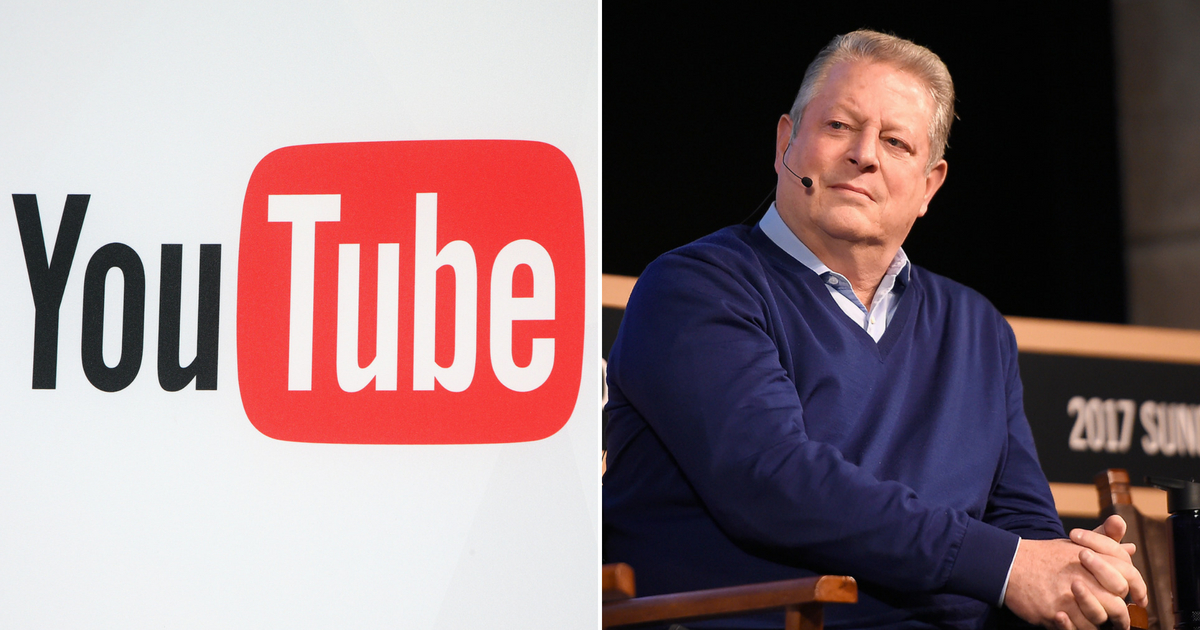 YouTube logo next to Al Gore