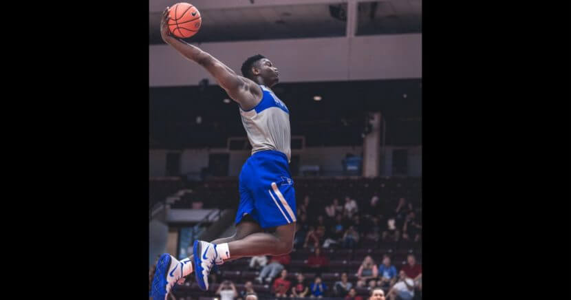 Duke freshman Zion Williamson performed a slam dunk from the free throw line during a practice in Toronto.