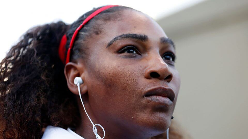 "In this Tuesday, July 31, 2018, file photo, Serena Williams, of the United States, waits to walk onto the court before the match against Johanna Konta, from Britain, during the Mubadala Silicon Valley Classic tennis tournament in San Jose, Calif. Williams says she's been struggling with postpartum emotions and wants other new moms to know they are ""totally normal."""