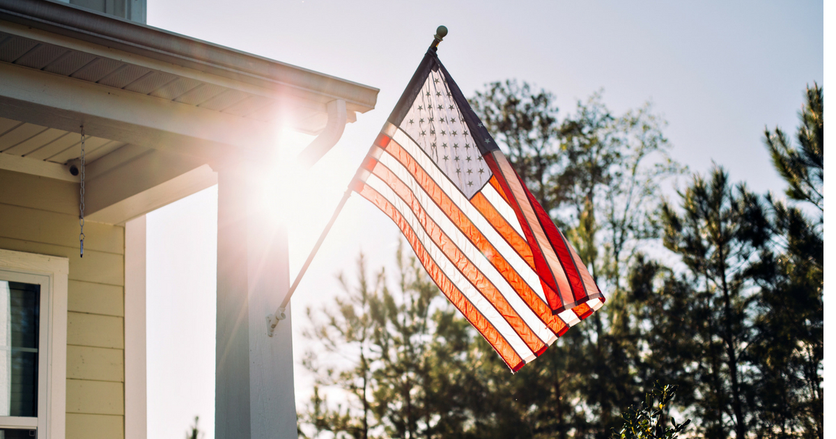 American flag on porch