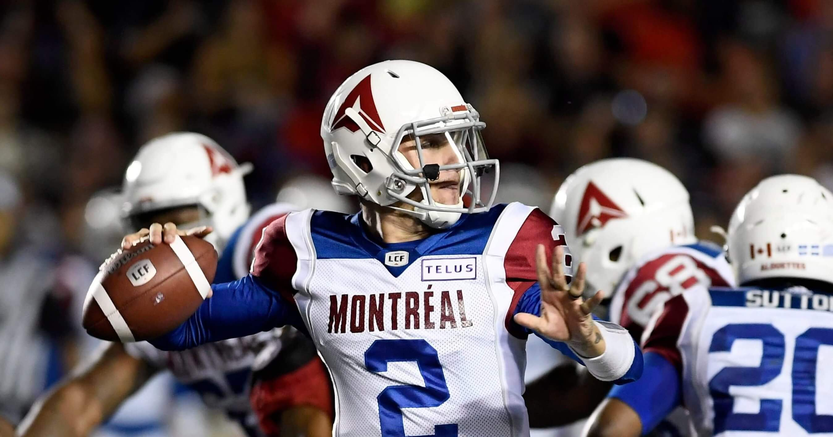 In this Saturday, Aug. 11, 2018 file photo, Montreal Alouettes quarterback Johnny Manziel (2) passes during first-half CFL football game action against the Ottawa Redblacks in Ottawa, Ontario.