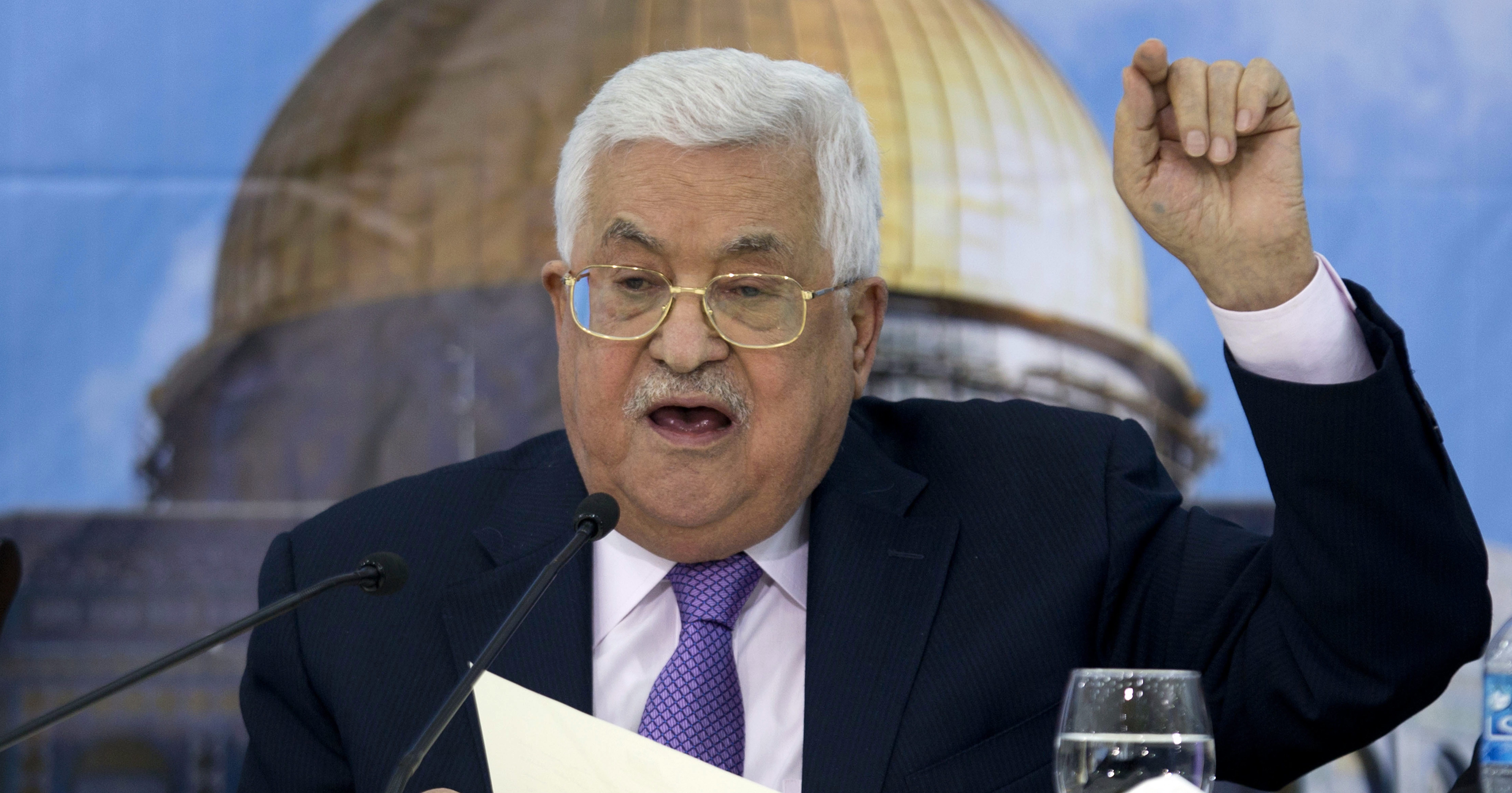 In this Aug. 15 photo, Palestinian President Mahmoud Abbas addresses the Palestinian Central Council at his headquarters in the West Bank city of Ramallah.