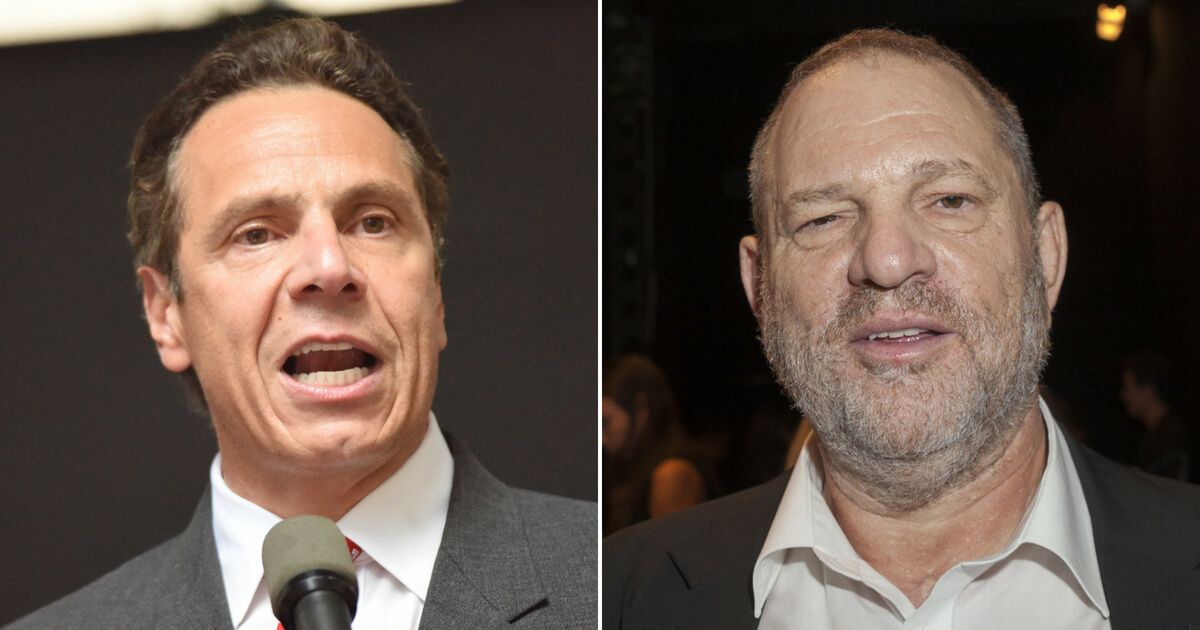 Andrew Cuomo left, Harvey Weistein, right