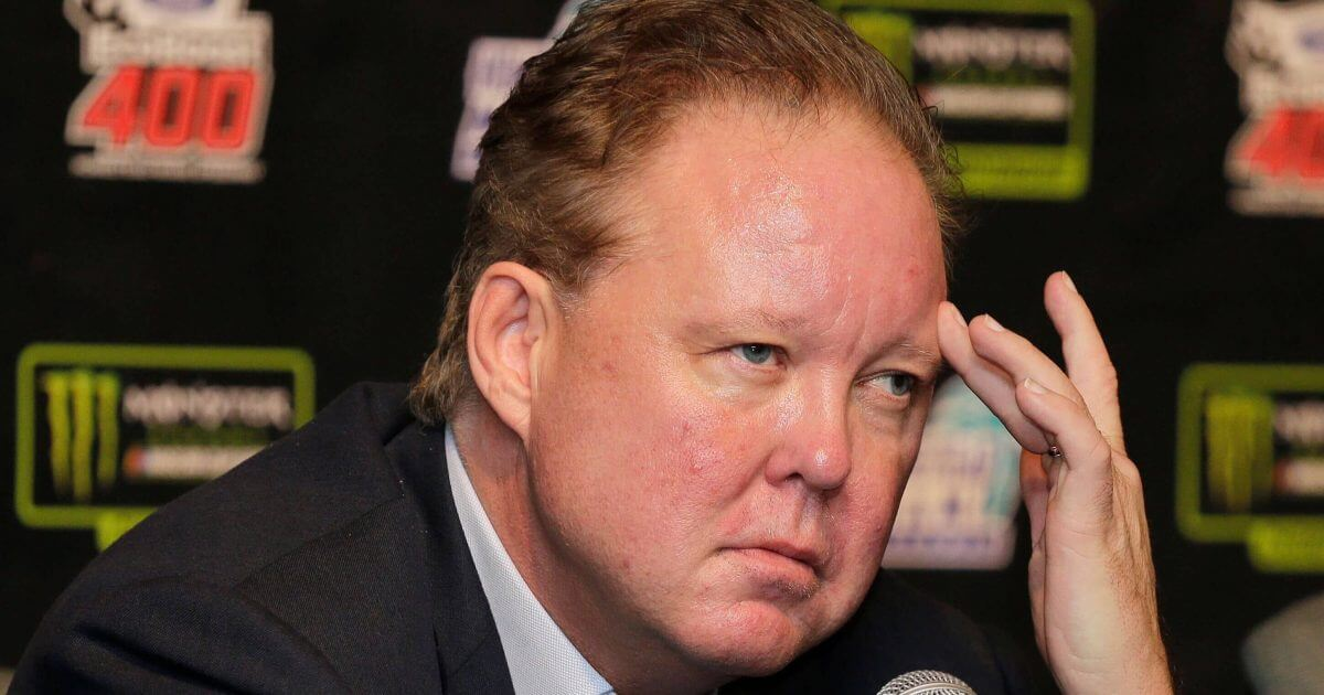 Brian France, NASCAR Chairman, ponders a question during a news conference.