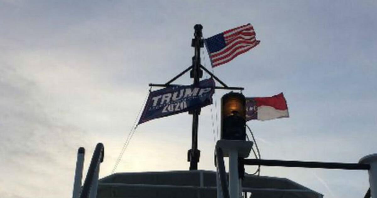 Trump flag on boat