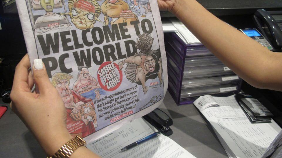 Melbourne-based newspaper Herald Sun displays a controversial cartoon of Serena Williams that has been widely condemned as a racist depiction of the tennis great, in Melbourne, Australia, Wednesday, Sept. 12, 2018.