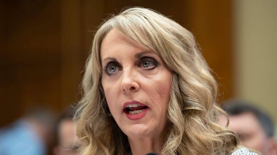USA Gymnastics President and CEO Kerry Perry testifies before the House Commerce Oversight and Investigations Subcommittee on Capitol Hill in Washington in May 2018.