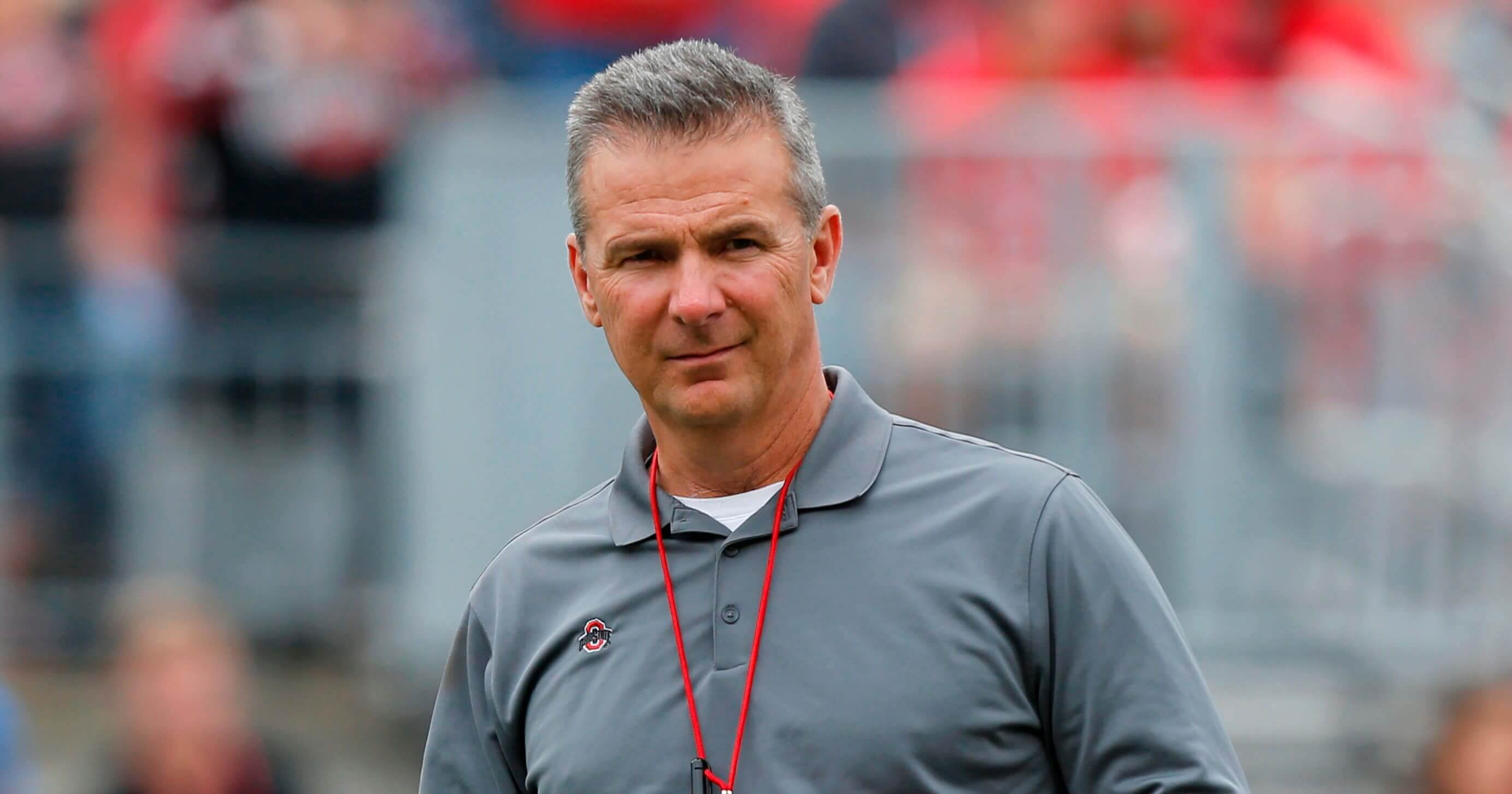 Ohio State coach Urban Meyer watches the team's spring game in Columbus, Ohio
