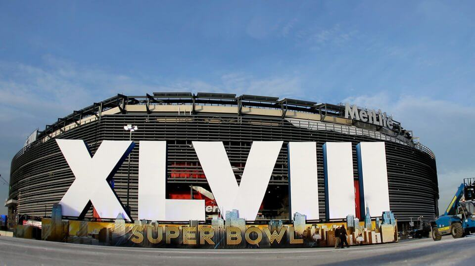 A sign for Super Bowl XLVIII stands in front of MetLife Stadium in East Rutherford, New Jersey, on Feb. 1, 2014.