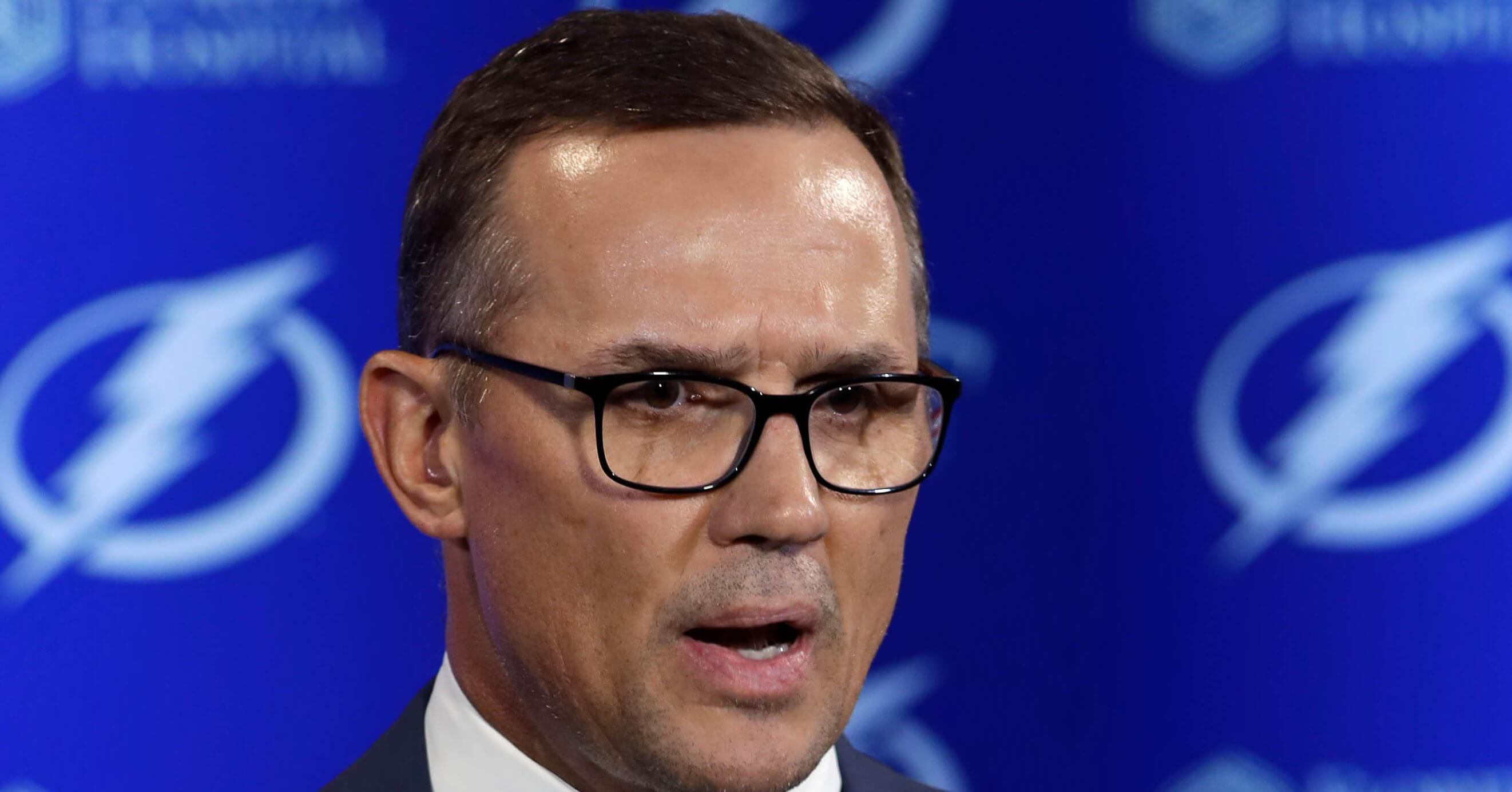 In this Feb. 26 photo, Tampa Bay Lightning general manager Steve Yzerman gestures during a news conference before an NHL hockey game against the Toronto Maple Leafs in Tampa, Florida.