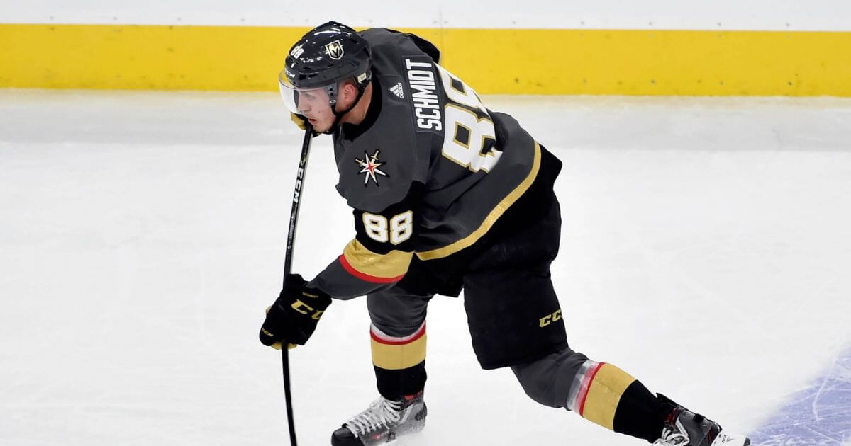 Vegas Golden Knights defenseman Nate Schmidt skates with the puck against the Winnipeg Jets during Game 3 of the 2018 NHL Western Conference finals hockey playoff series in Las Vegas.
