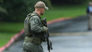 Authorities respond to a shooting in Harford County, Maryland, on Thursday.