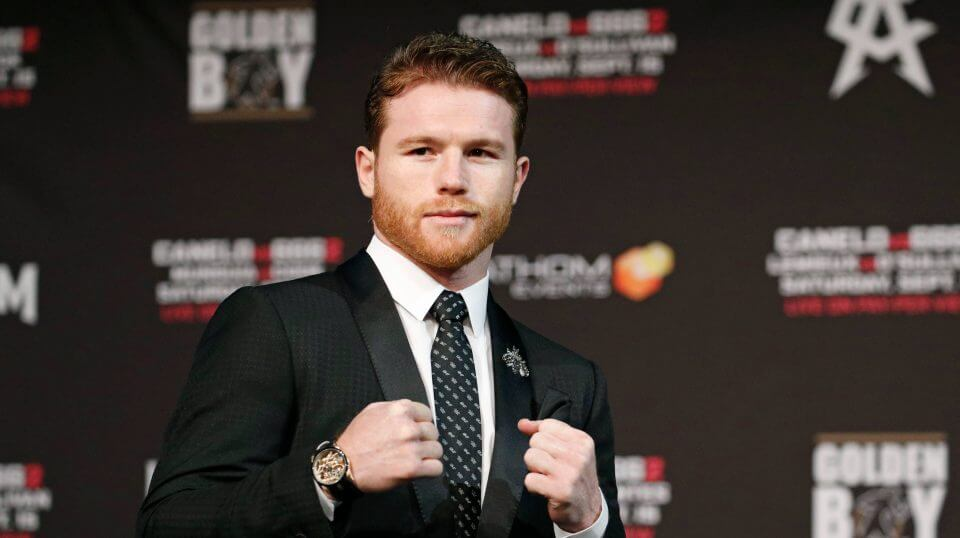 Canelo Alvarez poses during a news conference Wednesday in Las Vegas. Alvarez is scheduled to fight Gennady Golovkin in a title bout Saturday in Las Vegas.