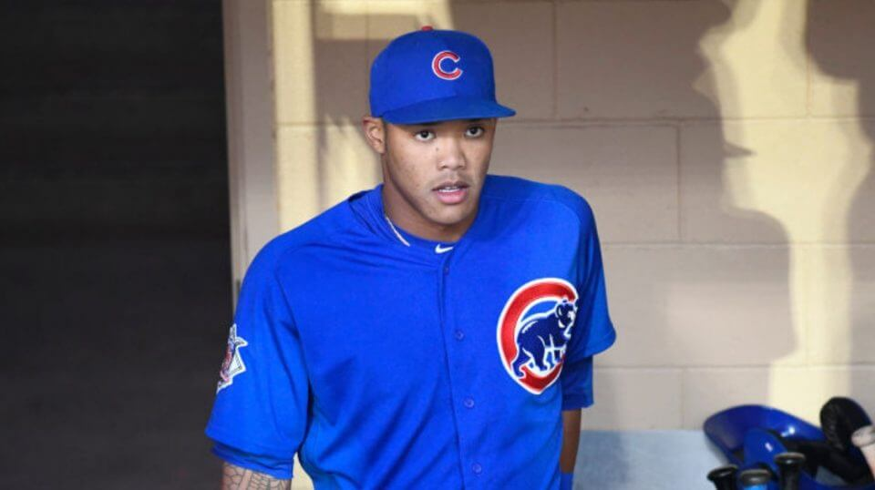 Cubs shortstop Addison Russell in the dugout