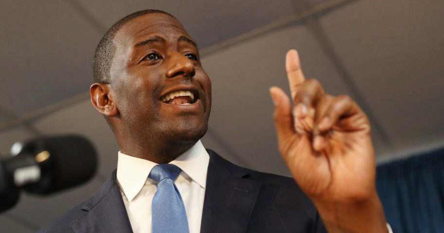 Tallahassee Mayor Andrew Gillum speaks during a campaign rally at the International Union of Painters and Allied Trades on Friday in Orlando, Florida.