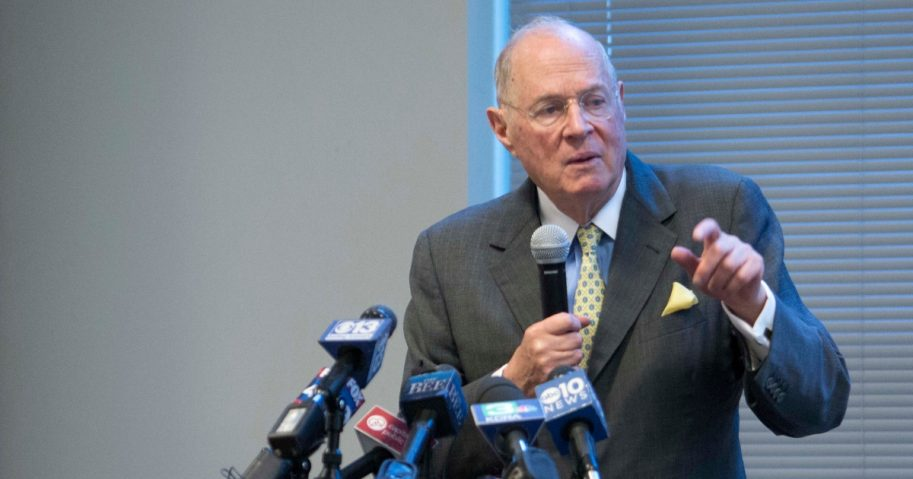 Former U.S. Supreme Court Justice Anthony Kennedy delivers the keynote speech during a luncheon held for high school civics students in Sacramento, California on Friday.