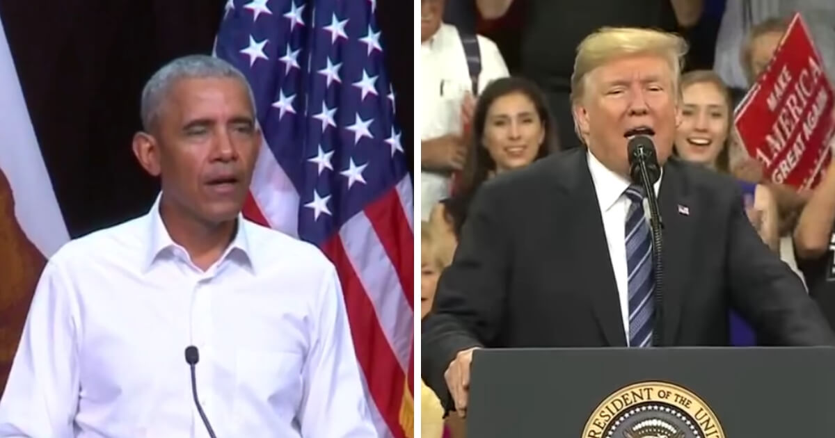 Former President Barack Obama, left, at a speech in Anaheim, California. President Donald Trump, right, at a rally in Montana.