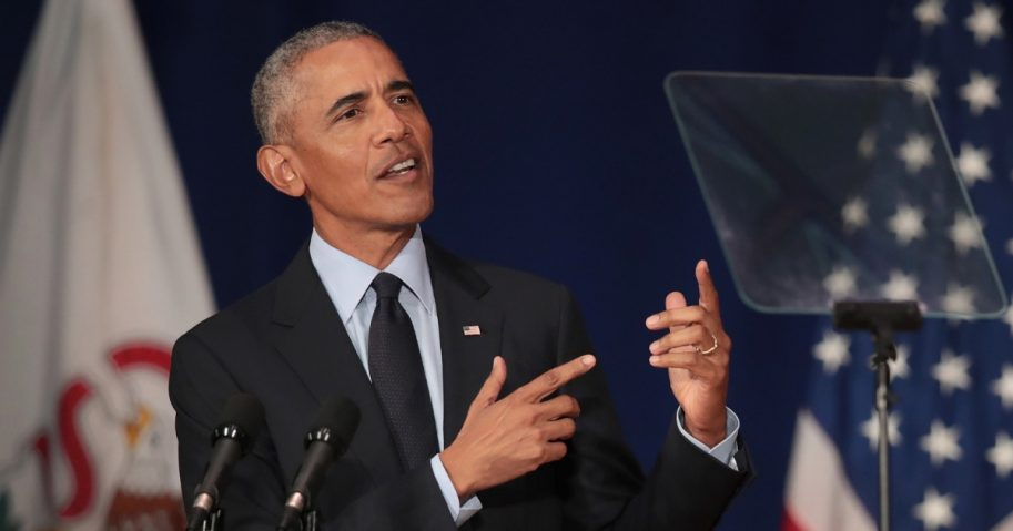 Former President Barack Obama speaks at the University of Illinois Urbana-Champaign on Friday.