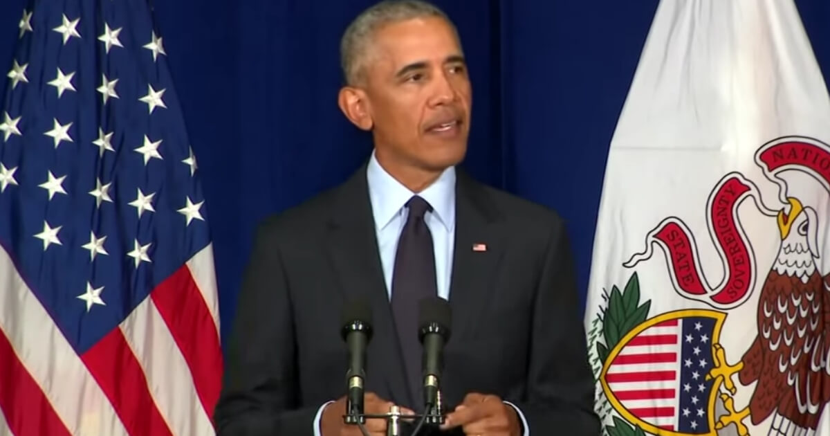 Former President Barack Obama delivers a speech Sept. 7 at the University of Illinois.