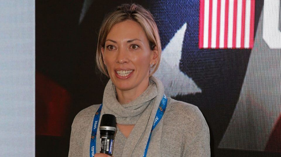 IOC member Beckie Scott attends the International Fair Play Awards at the Olympic Village on Feb. 18, 2014, in Sochi, Russia.