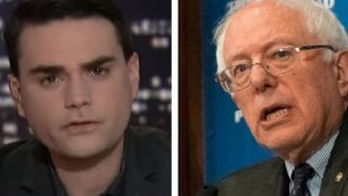 Ben Shapiro, left, and Bernie Sanders, right.