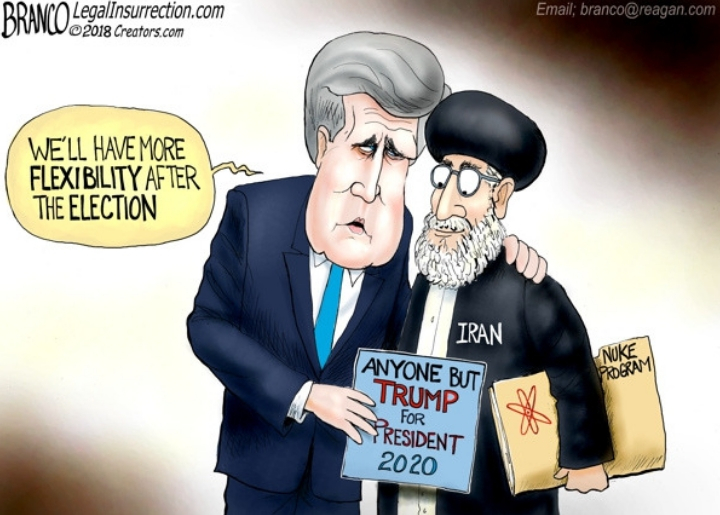 A caricature of former Secretary of State John Kerry assuring Iran that he can renegotiate the Iran Nuclear Deal after the 2020 presidential election