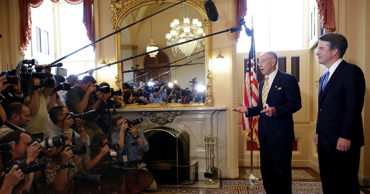 Senate Judiciary Committee Chairman Charles Grassley talks to the news media after meeting with Judge Brett Kavanaugh at the U.S. Capitol July 10, 2018, in Washington, D.C.