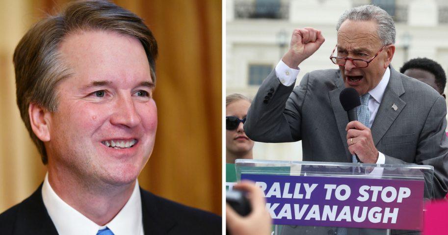 Senate Minority Leader Charles Schumer, speaks out against Supreme Court nominee Brett Kavanaugh, left.