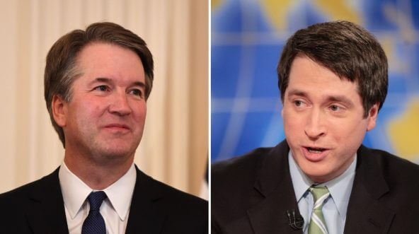 Judge Brett Kavanaugh, left, and National Review editor Rich Lowry, right.