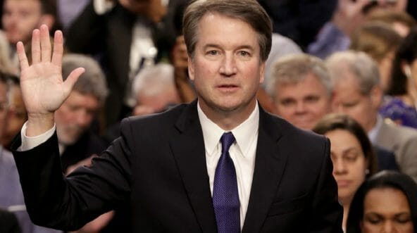 Supreme Court nominee Brett Kavanaugh is sworn in at the start of his confirmation hearings before the Senate Judiciary Committee on Sept. 4.