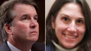 Brett Kavanaugh, left, and Deborah Ramirez, right.