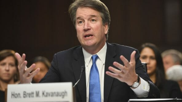 Judge Brett Kavanaugh makes a point to the Senate Judiciary Committee during a Sept. 5 confirmation hearing.