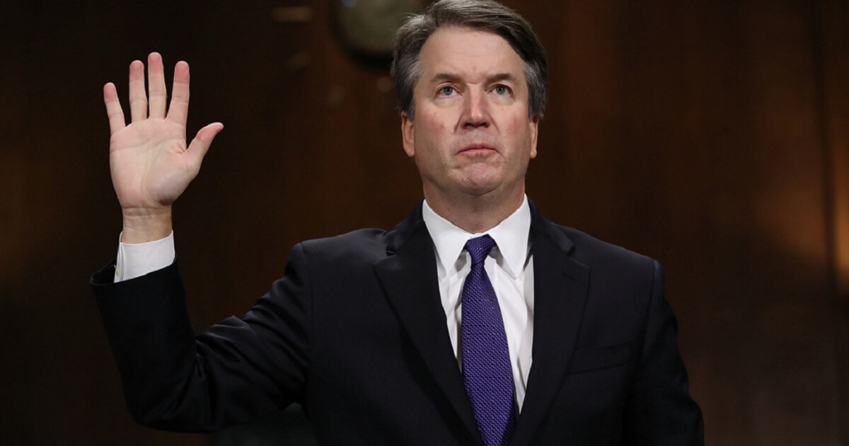 Supreme Court nominee Brett Kavanaugh is sworn in Thursday before his testimony to the Senate Judiciary Committee.