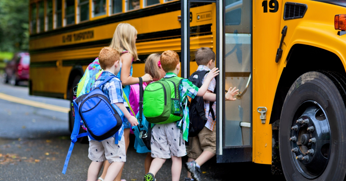 A group of young children getting on the school bus.