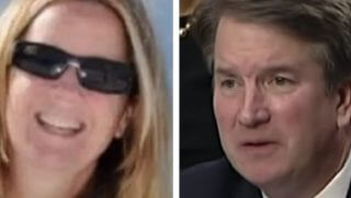 Christine Blasey Ford, left, and Brett Kavanaugh, right.