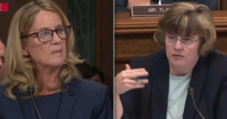 Christine Blasey Ford, left, listens to a question by Rachel Mitchell, right, during Ford's appearance Thursday before the Senate Judiciary Committee.